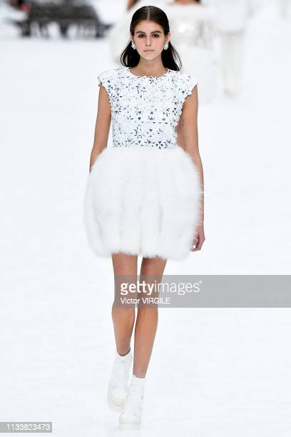 Kaia Gerber walks the runway during the Chanel Ready to Wear fashion show as part of the Paris Fashion Week Womenswear Fall/Winter 2019/2020 on March...