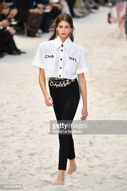 Kaia Gerber walks the runway during the Chanel show as part of the Paris Fashion Week Womenswear Spring/Summer 2019 on October 2, 2018 in Paris,...