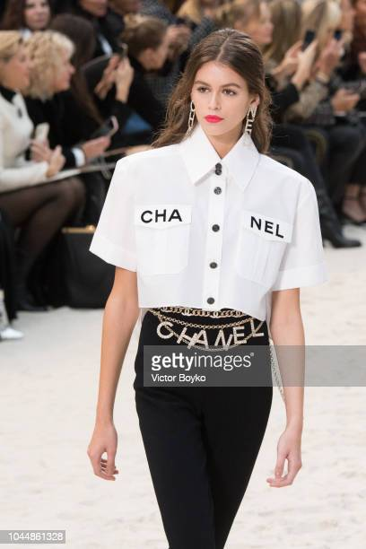 Kaia Gerber walks the runway during the Chanel show as part of the Paris Fashion Week Womenswear Spring/Summer 2019 on October 2 2018 in Paris France