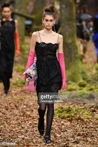 Kaia Gerber walks the runway during the Chanel show as part of the Paris Fashion Week Womenswear Fall/Winter 2018/2019 on March 6 2018 in Paris France
