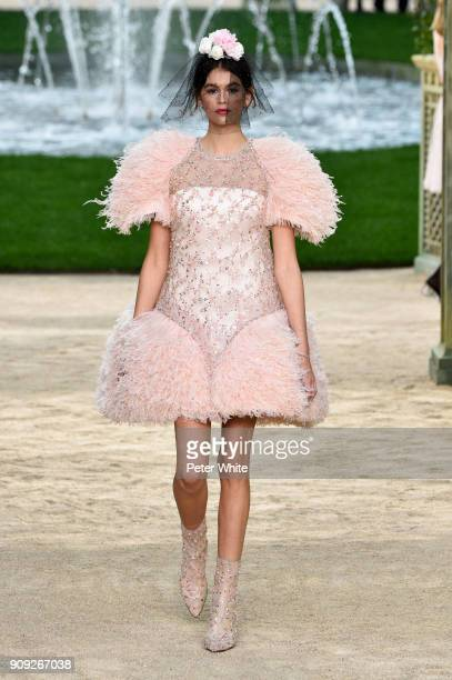 Kaia Gerber walks the runway during the Chanel Spring Summer 2018 show as part of Paris Fashion Week on January 23 2018 in Paris France