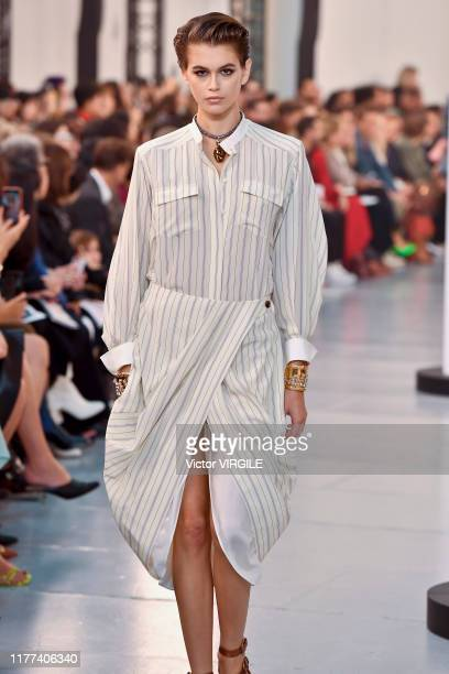 Kaia Gerber walks the runway during the Chloe Ready to Wear Spring/Summer 2020 fashion show as part of Paris Fashion Week on September 26, 2019 in...