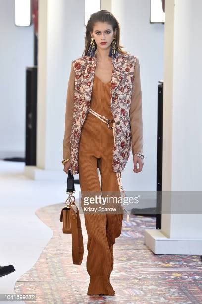 Kaia Gerber walks the runway during the Chloe show as part of the Paris Fashion Week Womenswear Spring/Summer 2019 on September 27 2018 in Paris...