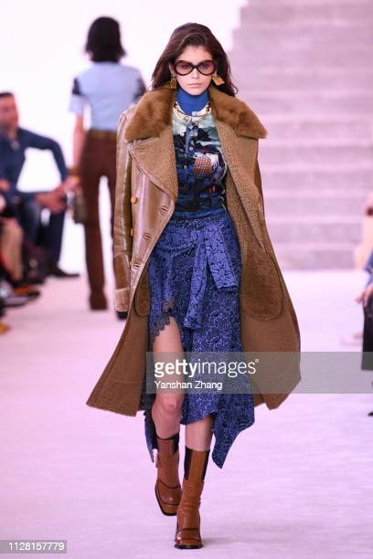 Kaia Gerber walks the runway during the Chloe show as part of the Paris Fashion Week Womenswear Fall/Winter 2019/2020 on February 28, 2019 in Paris,...