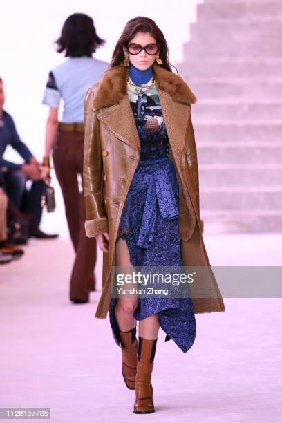 Kaia Gerber walks the runway during the Chloe show as part of the Paris Fashion Week Womenswear Fall/Winter 2019/2020 on February 28, 2019 in Paris,...