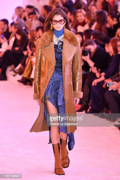 Kaia Gerber walks the runway during the Chloe show as part of the Paris Fashion Week Womenswear Fall/Winter 2019/2020 on February 28 2019 in Paris...