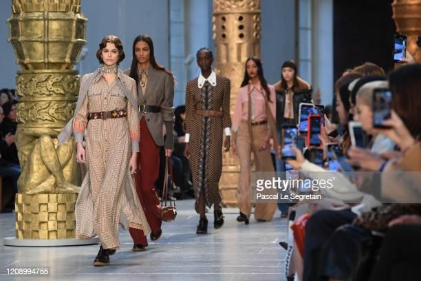 Kaia Gerber walks the runway during the Chloe show as part of the Paris Fashion Week Womenswear Fall/Winter 2020/2021 on February 27, 2020 in Paris,...