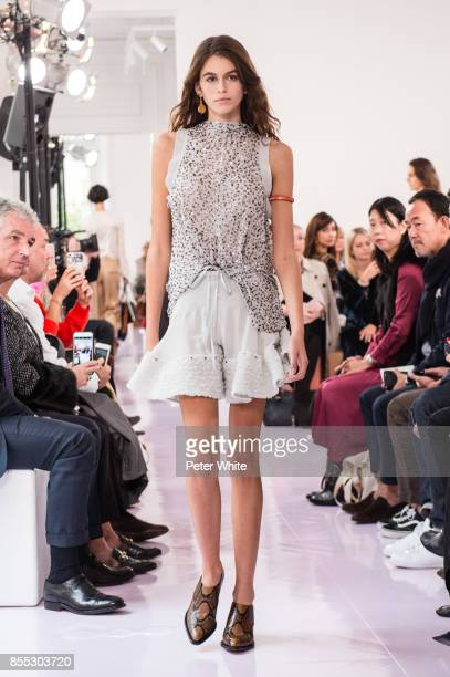 Kaia Gerber walks the runway during the Chloe show as part of the Paris Fashion Week Womenswear Spring/Summer 2018 on September 28 2017 in Paris...