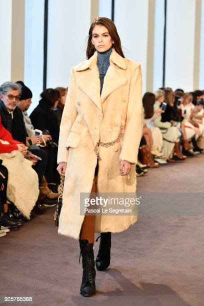 Kaia Gerber walks the runway during the Chloe show as part of the Paris Fashion Week Womenswear Fall/Winter 2018/2019 on March 1 2018 in Paris France