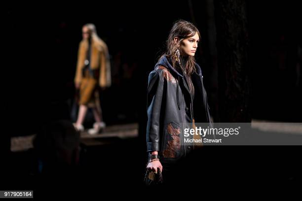Kaia Gerber walks the runway during the Coach 1941 fashion show during New York Fashion Week on February 13 2018 in New York City