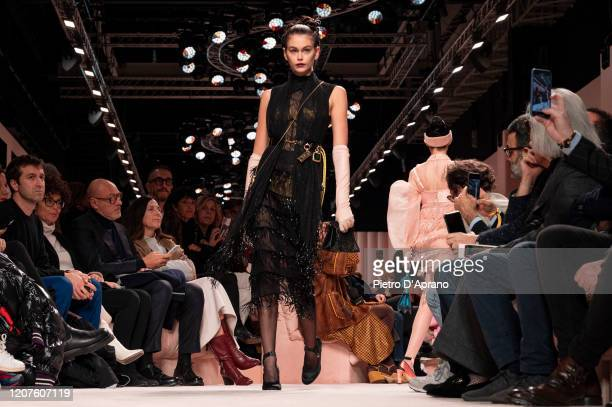 Kaia Gerber walks the runway during the Fendi fashion show as part of Milan Fashion Week Fall/Winter 2020-2021 on February 20, 2020 in Milan, Italy.