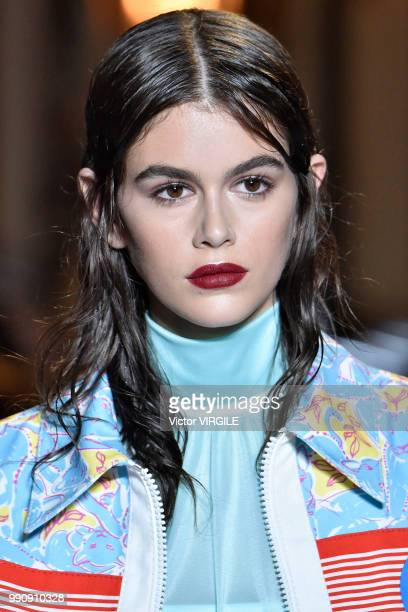 Kaia Gerber walks the runway during the finale of the Miu Miu 2019 Cruise Collection Show at Hotel Regina on June 30 2018 in Paris France