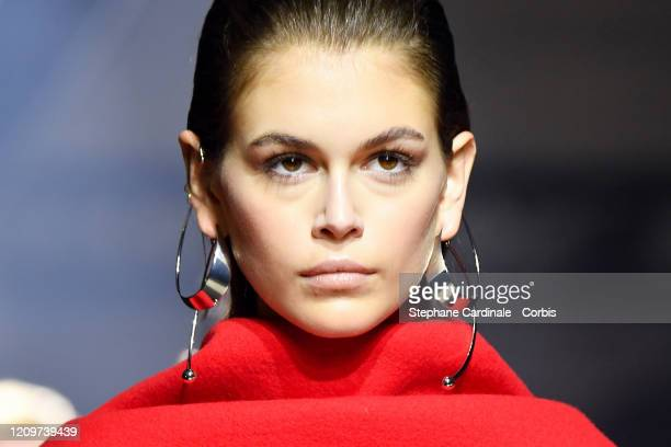 Kaia Gerber walks the runway during the Givenchy as part of the Paris Fashion Week Womenswear Fall/Winter 2020/2021 on March 01, 2020 in Paris,...
