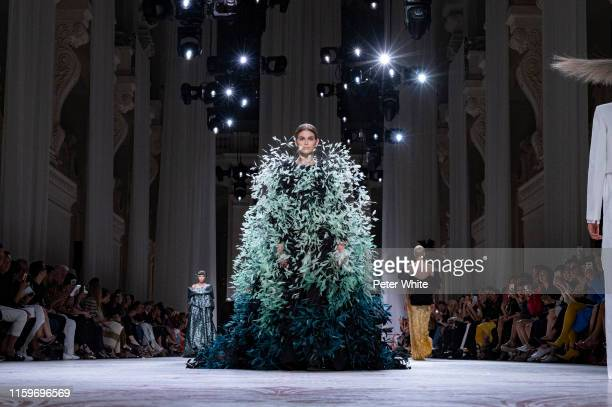Kaia Gerber walks the runway during the Givenchy Haute Couture Fall/Winter 2019 2020 show as part of Paris Fashion Week on July 02, 2019 in Paris,...