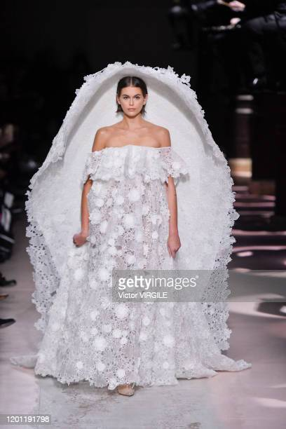 Kaia Gerber walks the runway during the Givenchy Haute Couture Spring/Summer 2020 fashion show as part of Paris Fashion Week on January 21, 2020 in...