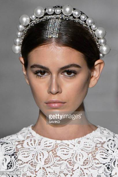 Kaia Gerber walks the runway during the Givenchy Haute Couture Spring Summer 2019 fashion show as part of Paris Fashion Week on January 22, 2019 in...