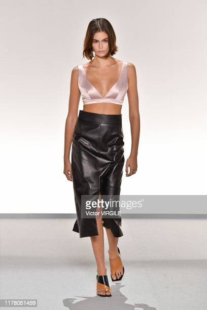 Kaia Gerber walks the runway during the Givenchy Ready to Wear Spring/Summer 2020 fashion show as part of Paris Fashion Week on September 29, 2019 in...