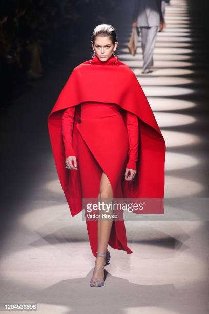 Kaia Gerber walks the runway during the Givenchy show as part of the Paris Fashion Week Womenswear Fall/Winter 2020/2021 on March 1, 2020 in Paris,...