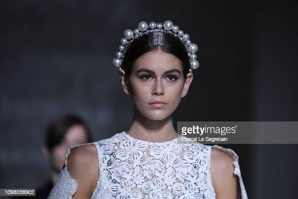 Kaia Gerber walks the runway during the Givenchy Spring Summer 2019 show as part of Paris Fashion Week on January 22 2019 in Paris France
