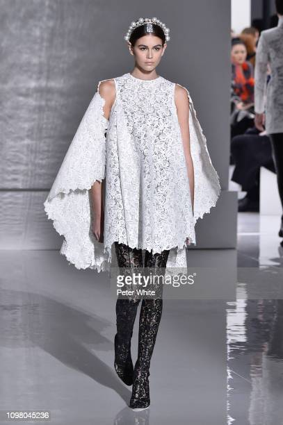 Kaia Gerber walks the runway during the Givenchy Spring Summer 2019 show as part of Paris Fashion Week on January 22, 2019 in Paris, France.