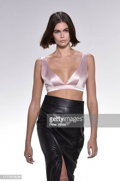 Kaia Gerber walks the runway during the Givenchy Womenswear Spring/Summer 2020 show as part of Paris Fashion Week on September 29, 2019 in Paris,...