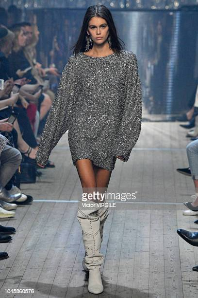 Kaia Gerber walks the runway during the Isabel Marant Ready to Wear fashion show as part of the Paris Fashion Week Womenswear Spring/Summer 2019 on...