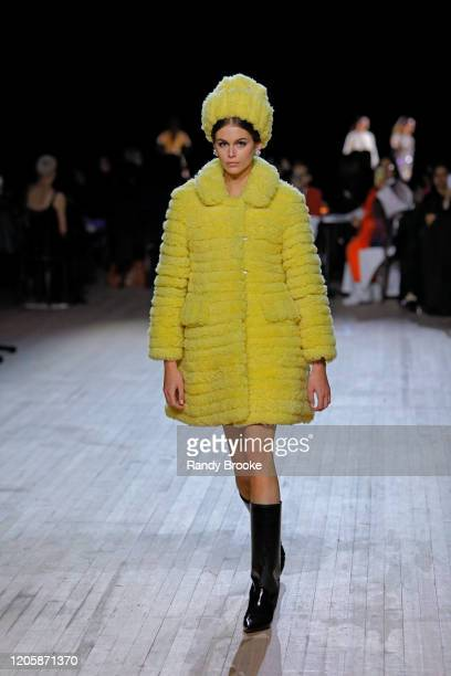 Kaia Gerber walks the runway during the Marc Jacobs Fall Winter 2020 fashion show at the Park Avenue Armory on February 12, 2020 in New York City.