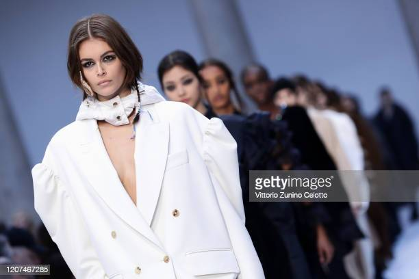 Kaia Gerber walks the runway during the Max Mara fashion show as part of Milan Fashion Week Fall/Winter 20202021 on February 20 2020 in Milan Italy