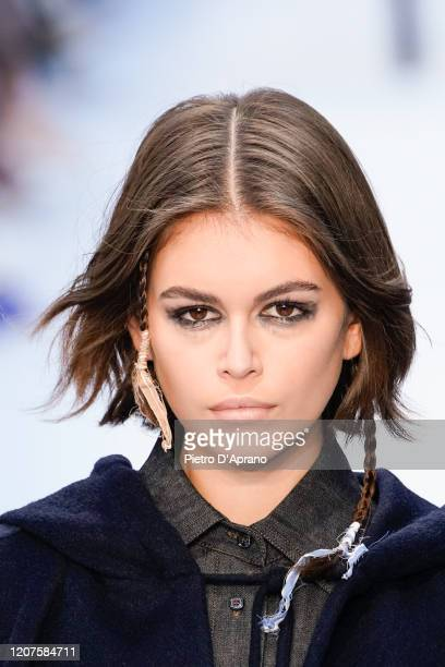 Kaia Gerber walks the runway during the Max Mara fashion show as part of Milan Fashion Week Fall/Winter 2020-2021 on February 20, 2020 in Milan,...