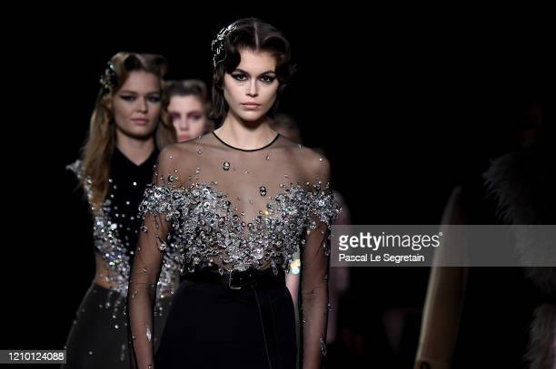 Kaia Gerber walks the runway during the Miu Miu as part of the Paris Fashion Week Womenswear Fall/Winter 2020/2021 on March 03, 2020 in Paris, France.