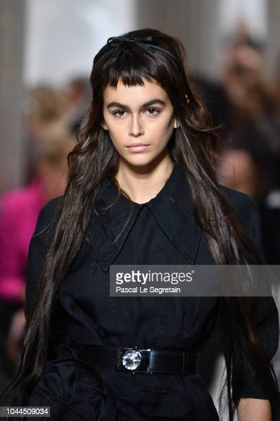 Kaia Gerber walks the runway during the Miu Miu show as part of the Paris Fashion Week Womenswear Spring/Summer 2019 on October 2 2018 in Paris France