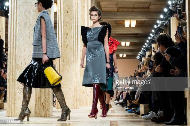 Kaia Gerber walks the runway during the Miu Miu Womenswear Spring/Summer 2020 show as part of Paris Fashion Week on October 01, 2019 in Paris, France.