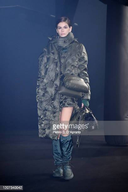 Kaia Gerber walks the runway during the Moncler fashion show as part of Milan Fashion Week Fall/Winter 20202021 on February 19 2020 in Milan Italy