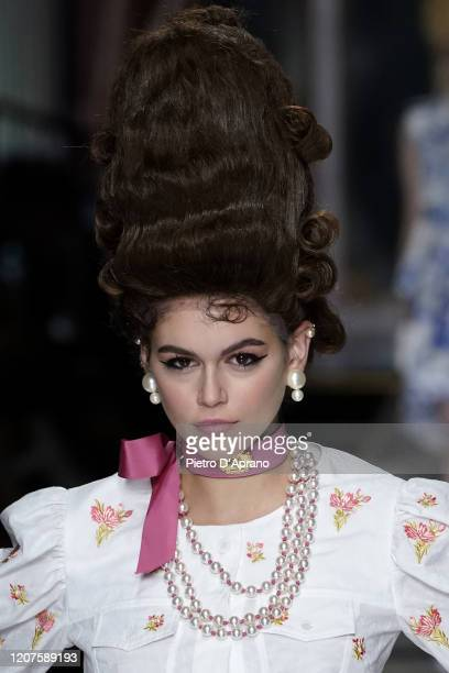 Kaia Gerber walks the runway during the Moschino fashion show as part of Milan Fashion Week Fall/Winter 2020-2021 on February 20, 2020 in Milan,...