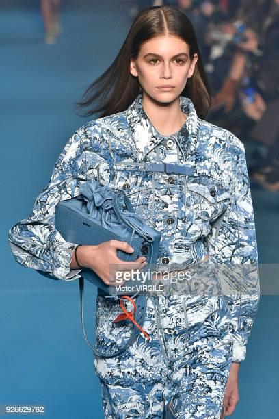Kaia Gerber walks the runway during the OffWhite Ready to Wear Fall/Winter 20182019 fashion show as part of the Paris Fashion Week Womenswear...