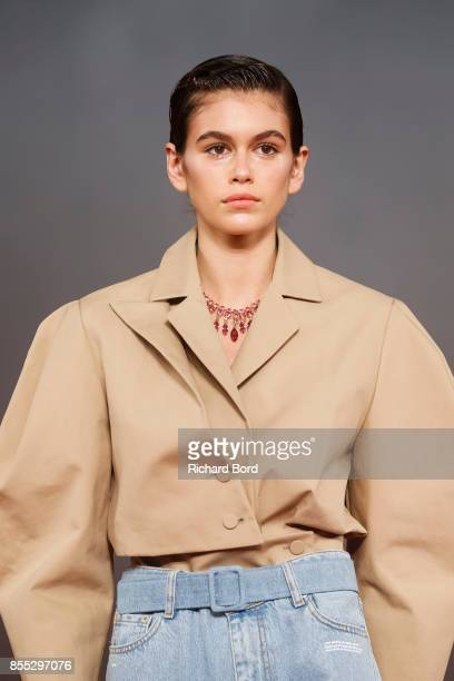 Kaia Gerber walks the runway during the Off/White show as part of Paris Fashion Week Womenswear Spring/Summer 2018 on September 28 2017 in Paris...