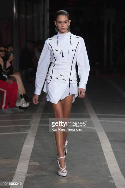 Kaia Gerber walks the runway during the Off-White show as part of the Paris Fashion Week Womenswear Spring/Summer 2019 on September 27, 2018 in...