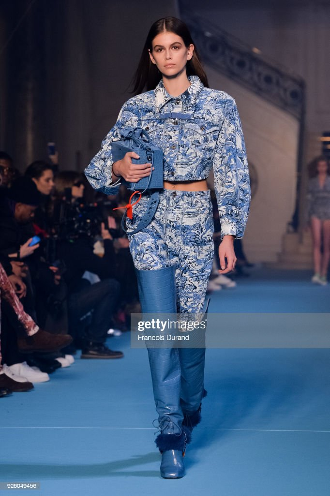 Kaia Gerber walks the runway during the Off-White show as part of the Paris Fashion Week Womenswear Fall/Winter 2018/2019 on March 1, 2018 in Paris, France.