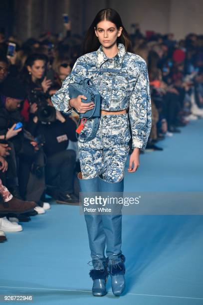 Kaia Gerber walks the runway during the OffWhite show as part of the Paris Fashion Week Womenswear Fall/Winter 2018/2019 on March 1 2018 in Paris...