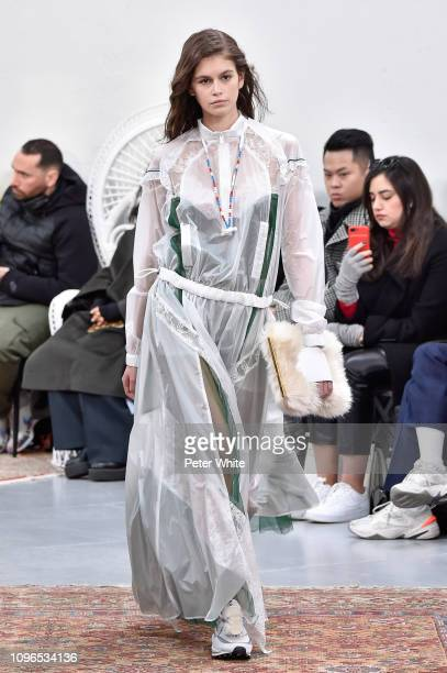 Kaia Gerber walks the runway during the Sacai Menswear Fall/Winter 20192020 show as part of Paris Fashion Week on January 19 2019 in Paris France