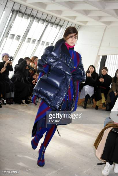 Kaia Gerber walks the runway during the Sacai show as part of the Paris Fashion Week Womenswear Fall/Winter 2018/2019 on March 52018 in Paris France
