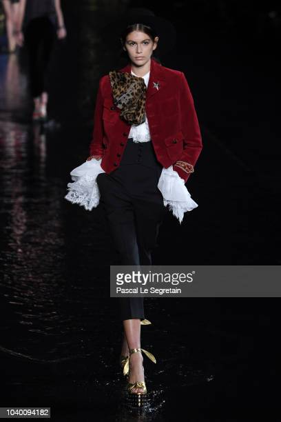 Kaia Gerber walks the runway during the Saint Laurent show as part of the Paris Fashion Week Womenswear Spring/Summer 2019 on September 25 2018 in...