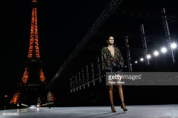 Kaia Gerber walks the runway during the Saint Laurent show as part of the Paris Fashion Week Womenswear Spring/Summer 2018 on September 26 2017 in...