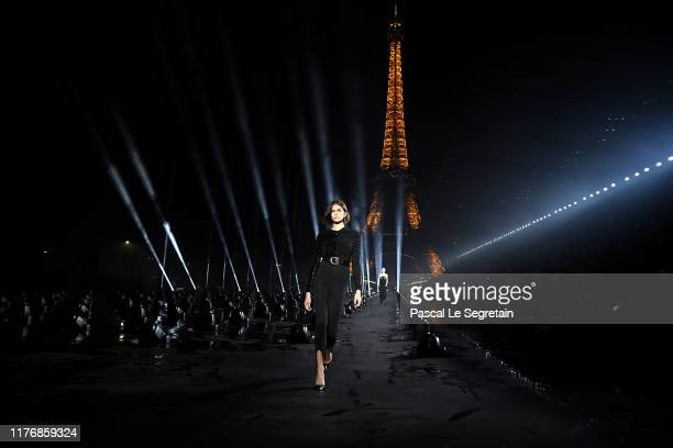 Kaia Gerber walks the runway during the Saint Laurent Womenswear Spring/Summer 2020 show as part of Paris Fashion Week on September 24, 2019 in...