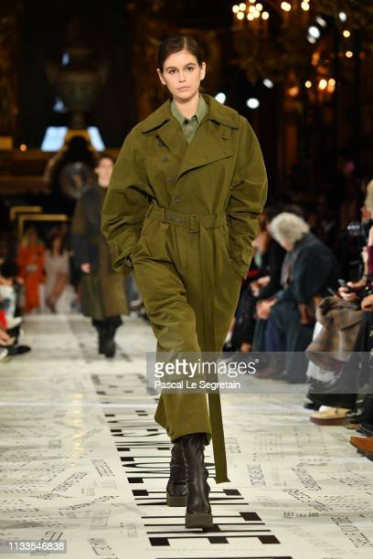 Kaia Gerber walks the runway during the Stella McCartney show as part of the Paris Fashion Week Womenswear Fall/Winter 2019/2020 on March 04, 2019 in...