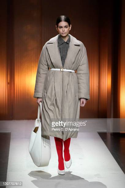 Kaia Gerber walks the runway during the Tod's fashion show as part of Milan Fashion Week Fall/Winter 2020-2021 on February 21, 2020 in Milan, Italy.