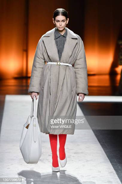 Kaia Gerber walks the runway during the Tod's Ready to Wear Fall/Winter 2020-2021 fashion show as part of Milan Fashion Week on February 21, 2020 in...