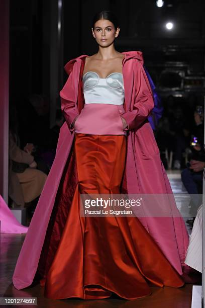 Kaia Gerber walks the runway during the Valentino Haute Couture Spring/Summer 2020 show as part of Paris Fashion Week on January 22, 2020 in Paris,...
