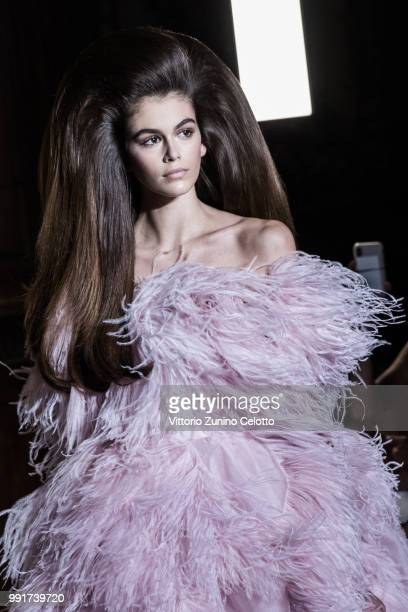 Kaia Gerber walks the runway during the Valentino Haute Couture Fall Winter 2018/2019 show as part of Paris Fashion Week on July 4 2018 in Paris...