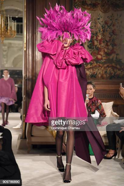 Kaia Gerber walks the runway during the Valentino Haute Couture Spring Summer 2018 show as part of Paris Fashion Week on January 24 2018 in Paris...